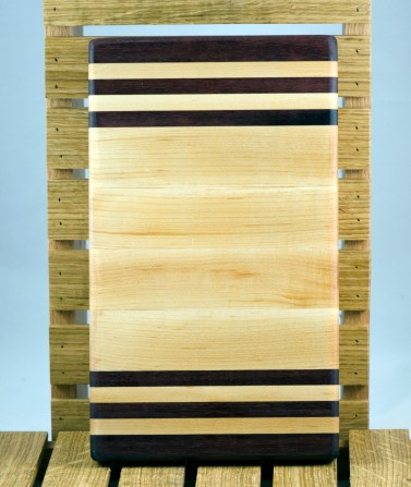 "Small Board 16 - 014. Purpleheart & Hard Maple. 7"" x 12"" x 1-1/4""."