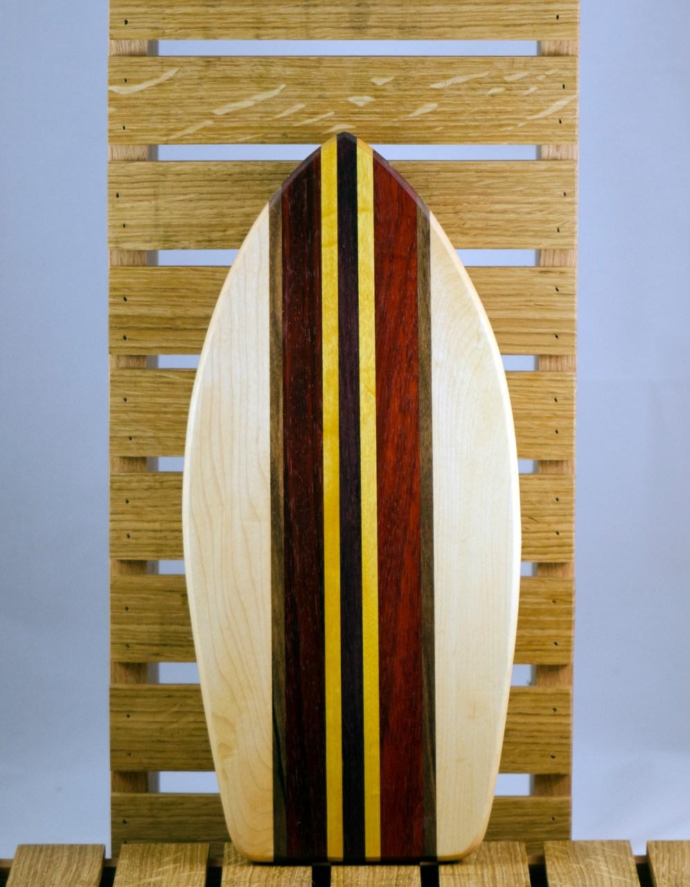 Small Surfboard 16 - 08. Hard Maple, Black Walnut, Padauk & Yellowheart.