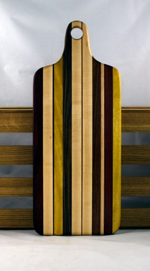 "Bread Board 16 - 02. Chaos Board. Black Walnut, Yellowheart, Padauk & Hard Maple. 8"" x 20"" x 7/8""."