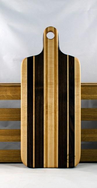 "Bread Board 16 - 05. Cherry, Black Walnut & Hard Maple. 8"" x 20"" x 7/8""."