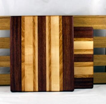 """Cheese Board 16 - 027. Bubinga, Cherry & Hard Maple. 9"""" x 11"""" x 3/4""""."""