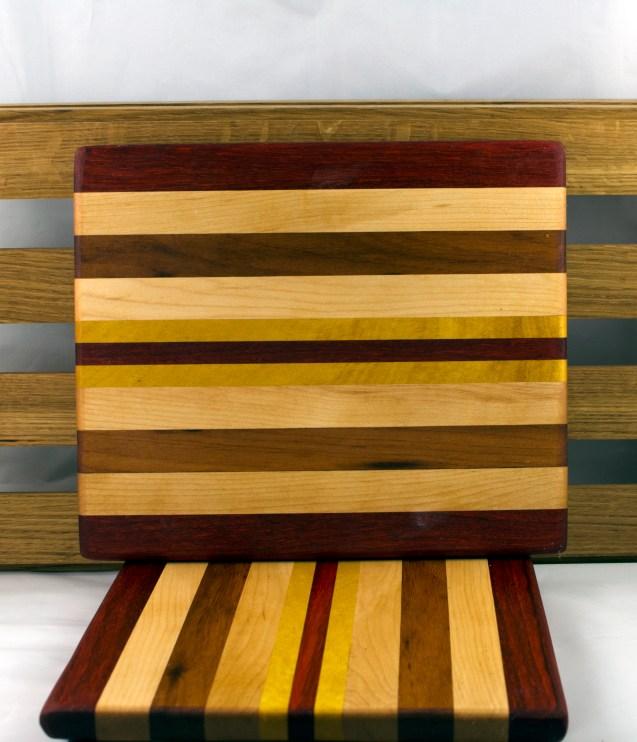 """Cheese Board 16 - 029. Padauk, Hard Maple, Jatoba & Yellowheart. 10"""" x 12"""" x 3/4""""."""