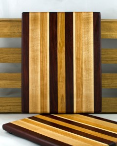 """Cheese Board 16 - 042. Padauk, Hard Maple & Cherry. 9"""" x 11"""" x 3/4""""."""
