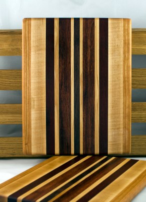 "Cheese Board 16 - 045. Cherry, Hard Maple, Bloodwood & Black Walnut. 9"" x 11"" x 3/4""."