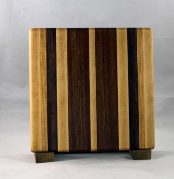 "Small Board 16 - 022. Hard Maple, Black Walnut & Bubinga. 10"" x 10"" x 7/8""."