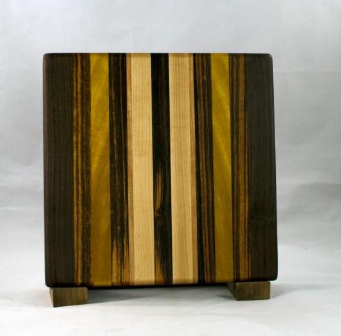 "Small Board 16 - 022. Black Walnut, Goncalo Alves, Yellowheart & Hard Maple. 10"" x 10"" x 7/8""."