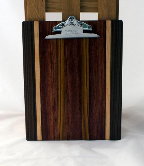 "Clipboard 16 - 025. Black Walnut, Hard Maple, Bubinga & Canarywood. Letter size. 1"" clip."