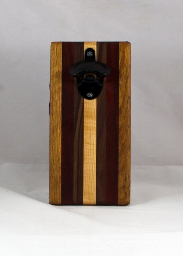 Magic Bottle Opener 16 - 146. Red Oak, Black Walnut, Padauk & Hard Maple. Double Magic.