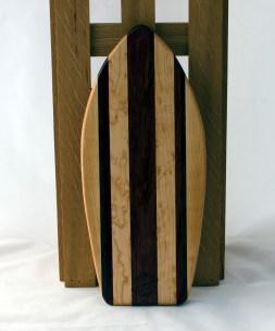 """Small Surfboard 16 - 12. Hard Maple, Birds Eye Maple, Jatoba & Purpleheart. 6"""" x 16"""" x 3/4""""."""