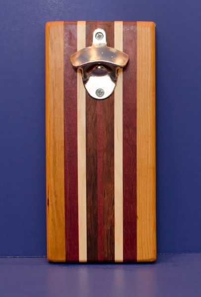 Magic Bottle Opener 16 - 153. Cherry, Purpleheart, Hard Maple & Buginga. Single Magic.