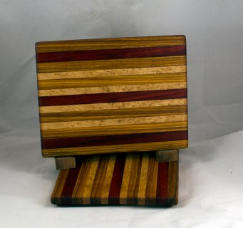 "Cheese Board 16 - 053. Canarywood, Padauk & Birdseye Maple. 8"" x 11"" x 3/4""."