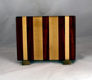 "Cheese Board 16 - 055. Padauk & Hard Maple. 7"" x 11"" x 7/8""."
