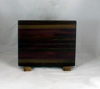"Cheese Board 16 - 060. Black Walnut, Caribbean Rosewood, Purpleheart, Bloodwood & Jatoba. 8"" x 11"" x 3/4""."