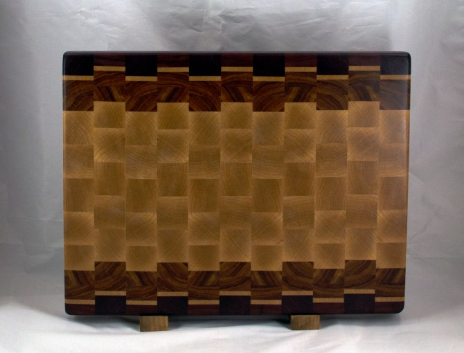 "Cutting Board 16 - End 048. Purpleheart, Hard Maple & Canarywood. End Grain. 14"" x 18"" x 1-1/2""."