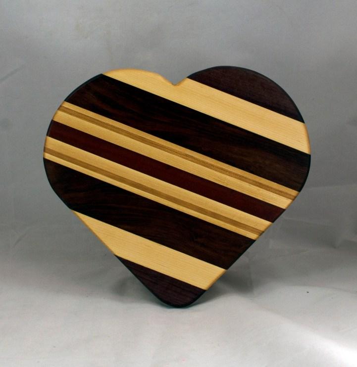 "Heart 16 - 01. Purpleheart, Hard Maple, Bubinga, Cherry & Bloodwood. 11"" x 12"" x 3/4""."