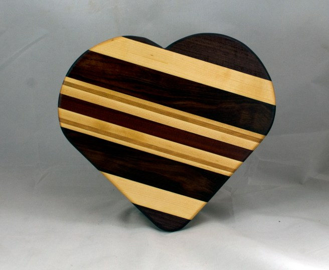 "Heart 16 - 02. Purpleheart, Hard Maple, Bubinga, Cherry & Bloodwood. 11"" x 12"" x 3/4""."