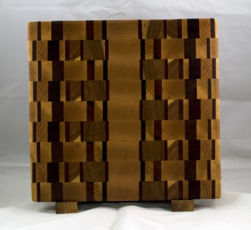 "Cutting Board 17 - 409. This was built to be a chaos board ... but didn't end up that way. End Grain. 12-1/2"" x 13"" x 1-1/4""."