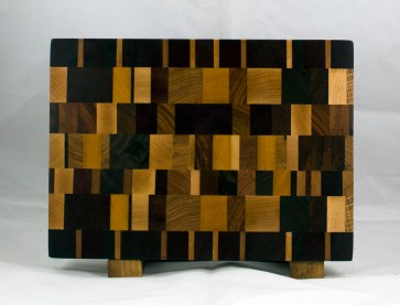 "Cutting Board 17 - 410. Chaos Board, End Grain. Jatoba, Cherry, Padauk, Black Walnut, White Oak, Hard Maple, Canarywood, Hickory, Purpleheart & Yellowheart. 9-1/2"" x 13-1/4"" x 1-1/4""."
