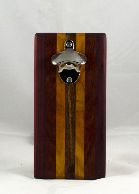 Magic Bottle Opener 17 - 606. Purpleheart, Bloodwood, Caribbean Rosewood & Canarywood. Single Magic.