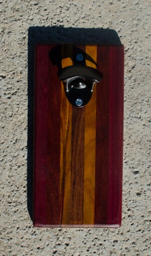 Magic Bottle Opener 17 - 612. Purpleheart, Bloodwood, Canarywood & Jatoba. Double Magic.