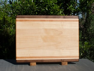 "Cutting Board 17 - 112. Black Walnut, Hard Maple & Cherry. 12"" x 16"" x 1-1/4""."