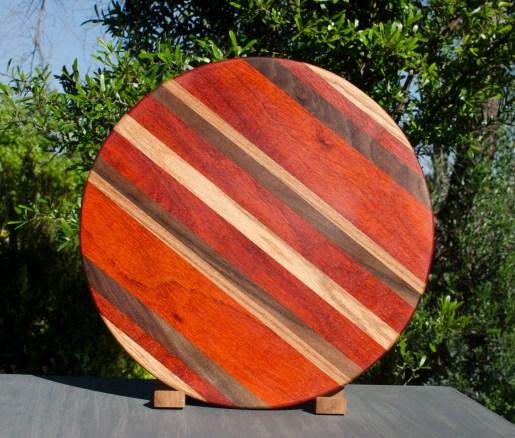 """Lazy Susan 17 - 08. Red Oak, Padauk & Black Walnut. 18"""" diameter."""