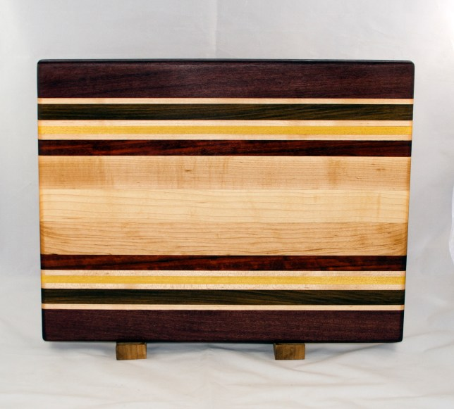 "Cutting Board 17 - 119. Purpleheart, Hard Maple, Jatoba, Yellowheart & Padauk. Edge Grain. 14"" x 18"" x 1-1/8""."