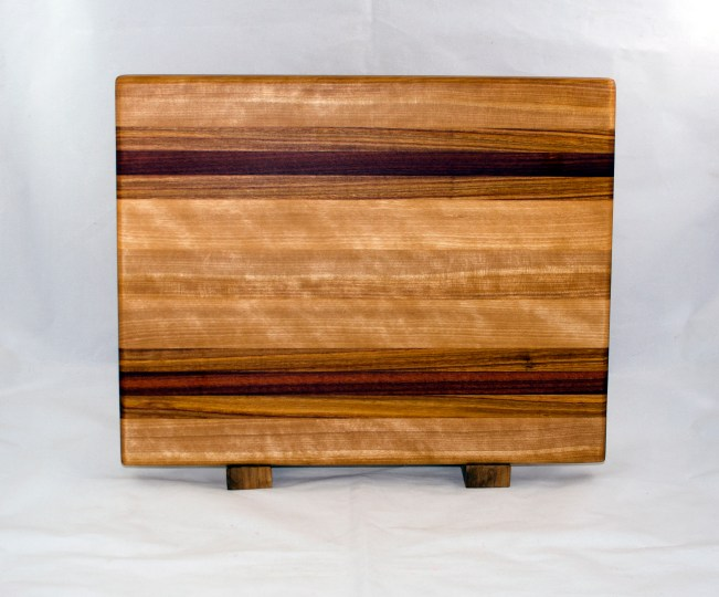 "Cutting Board 17 - 121. Hard Maple, Canarywood & Bloodwood. Edge Grain. 13"" x 17"" x 1-1/8""."