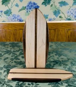 """Small Surfboard 17 - 502. Jatoba & Hard Maple. 7"""" x 16"""" x 3/4""""."""