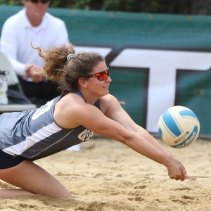 Coach Paloma Bowman competing of UC Davis in beach volleyball