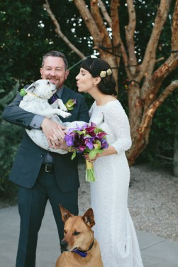 Bride & Groom with 2 dogs at The Fig House, Los Angeles. Moxie Bright Events.