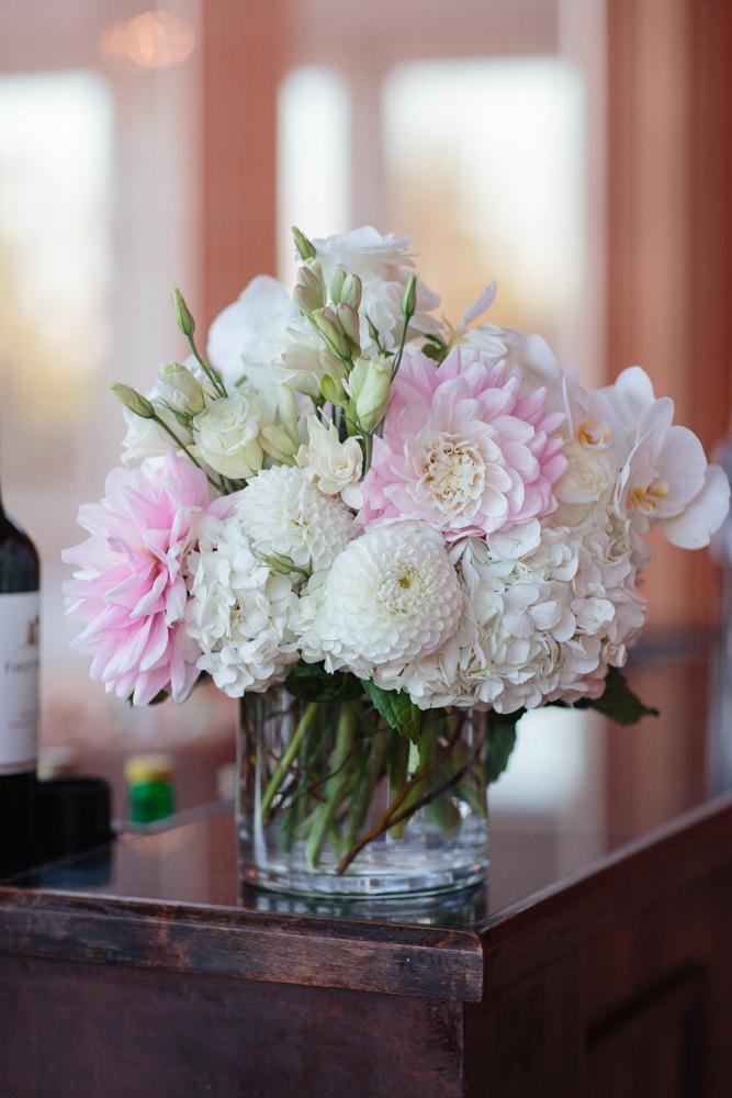 wedding floral centerpiece blush dahlias, white button dahlias, white stock, white hydrangea