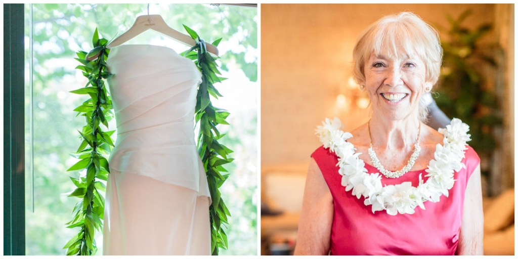 Mother of the Bride portrait, hawaiian lei as wedding decor