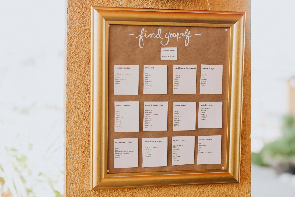 Sacred Sands Wedding, gold and kraft paper, guest seating chart,