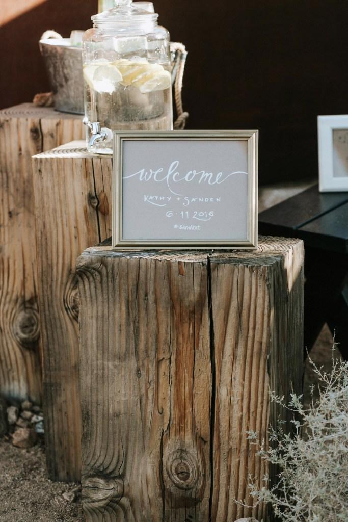 Sacred Sands Wedding, welcome sign Joshua Tree wedding