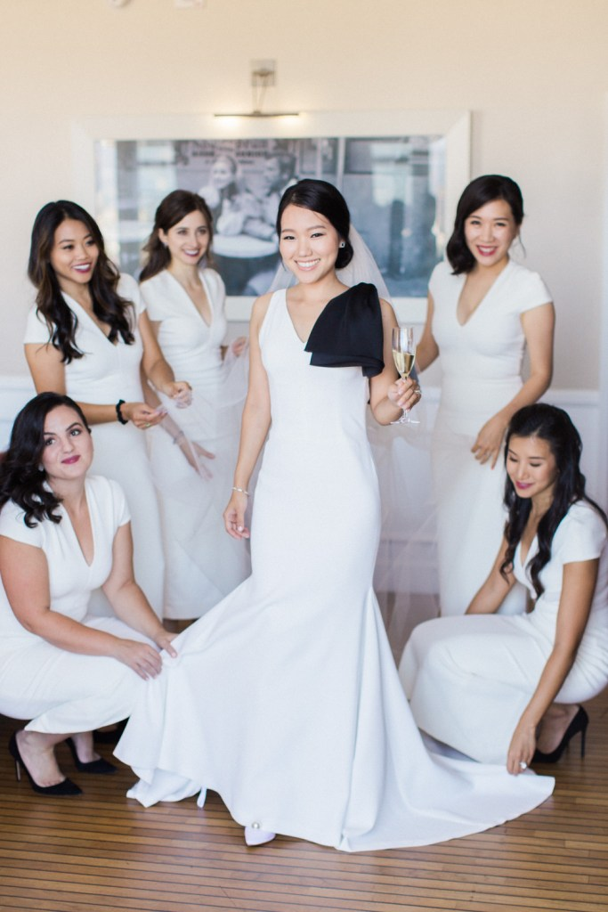 Vera Wang white gown with black bow, Moxie Bright Events