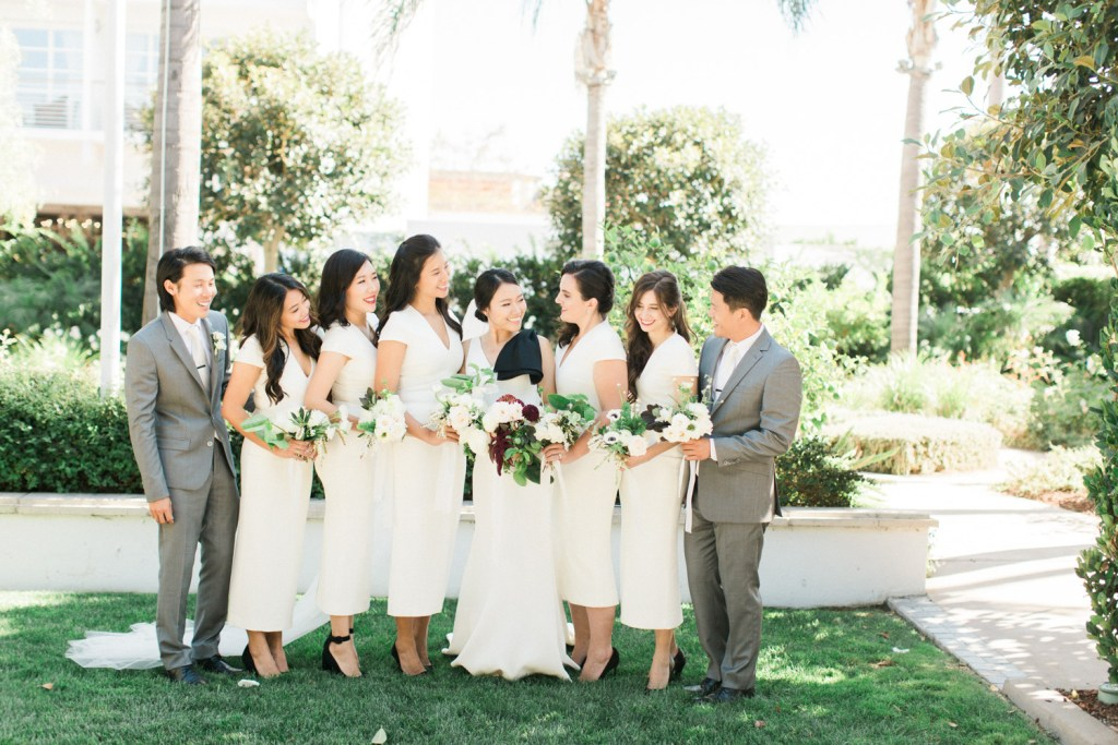 bridal party + all white dresses + best man, Moxie Bright Events
