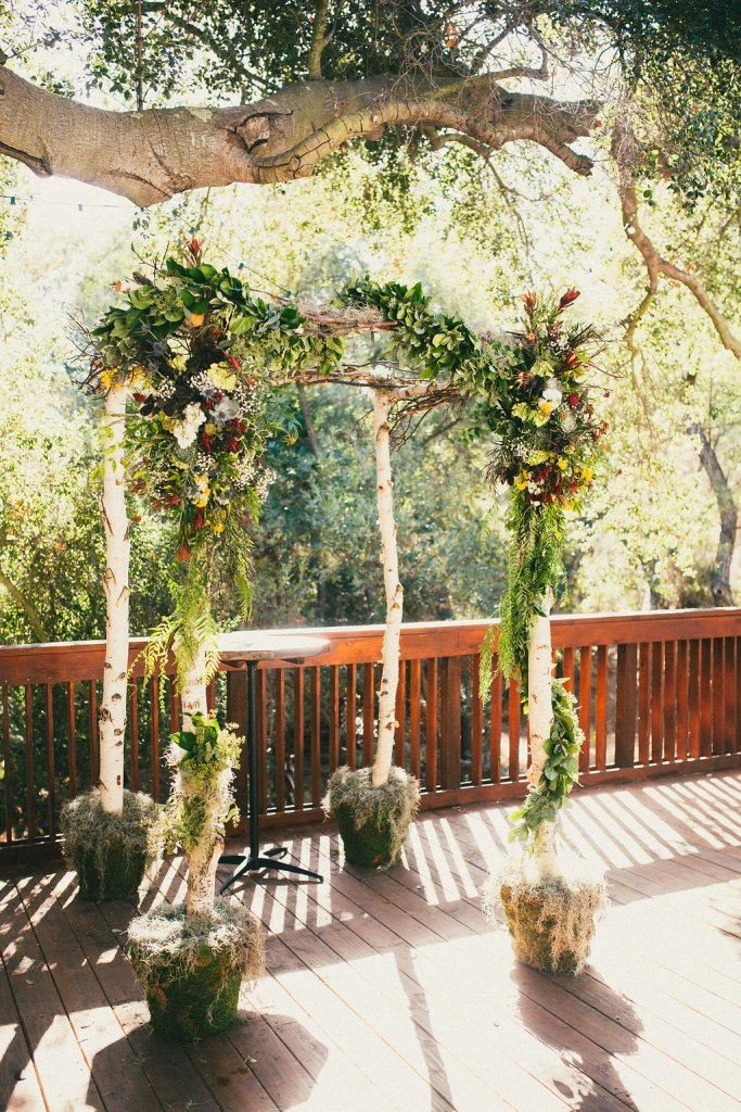 lush fall floral birch chuppah, The Enchanted Florist Burbank, Best wedding planner Moxie Bright Events, Los Angeles wedding planner
