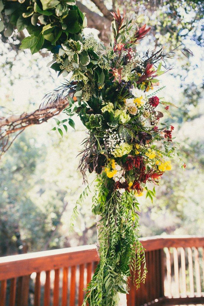 detail of fall chuppah florals