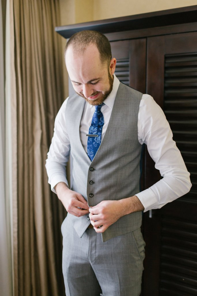 Groom gets ready for Carondelet Wedding