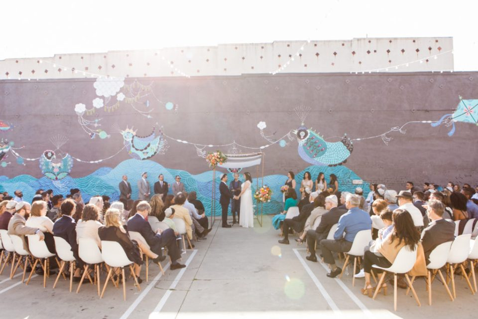 wide angle Jewish ceremony at The Unique Space, Wedding Planning: Moxie Bright Events