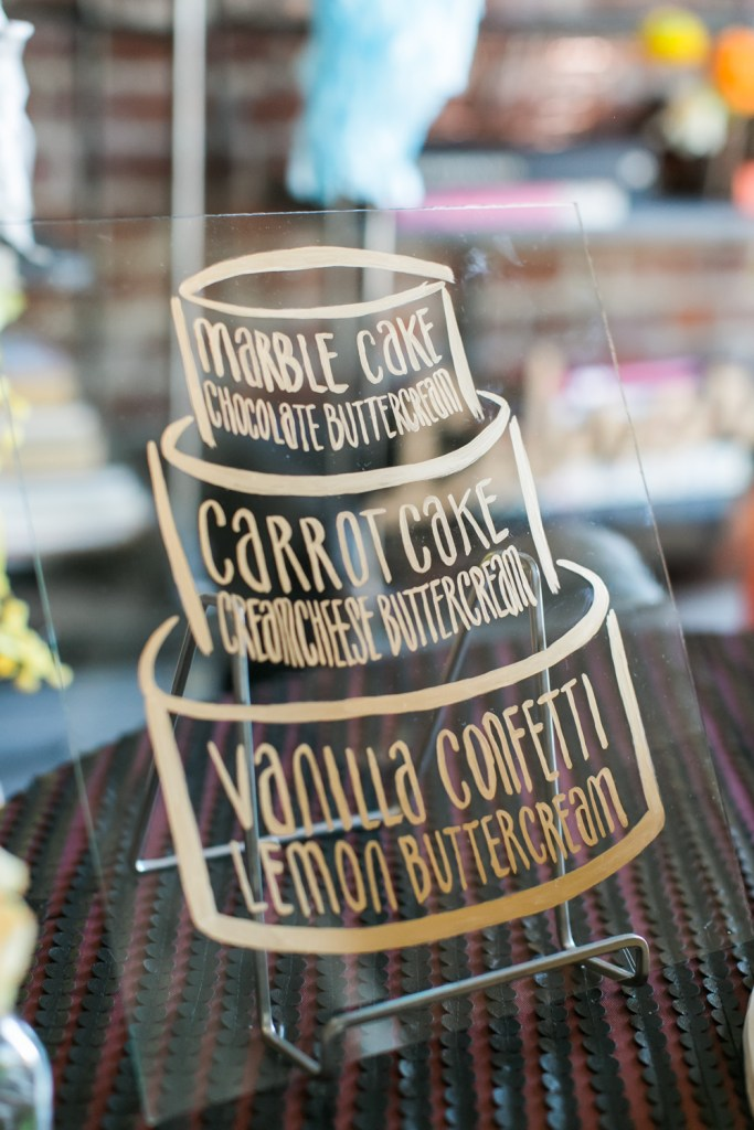 Acrylic and gold hand painted cake sign, Wedding Planning: Moxie Bright Events