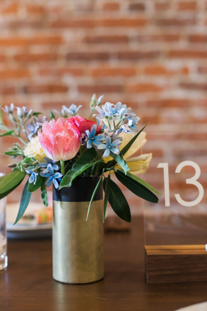 pink yellow and blue florals in a gold vase, Wedding Planning by Moxie Bright Events