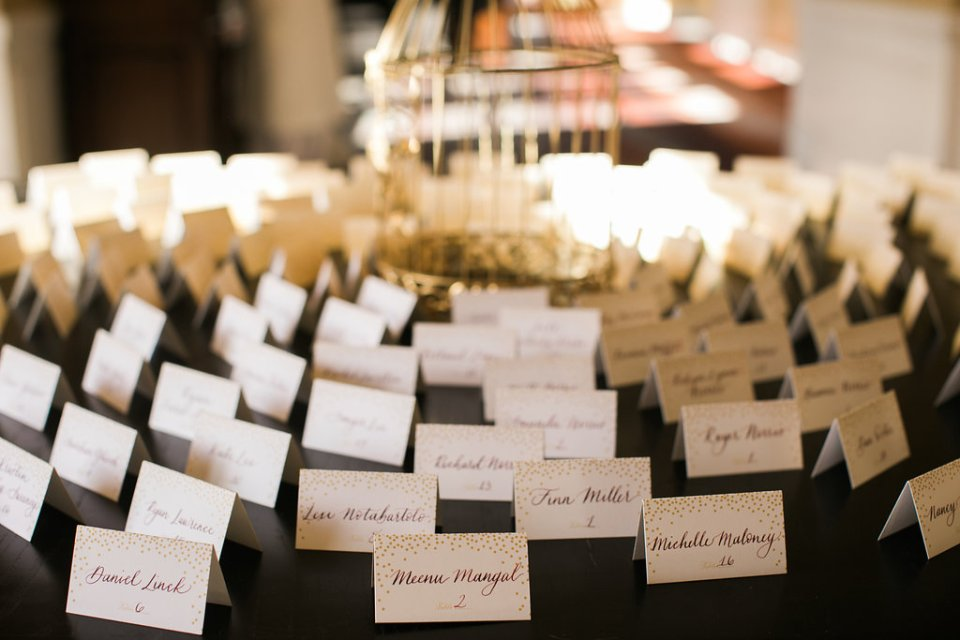 gold and white escort cards for Palm Springs wedding