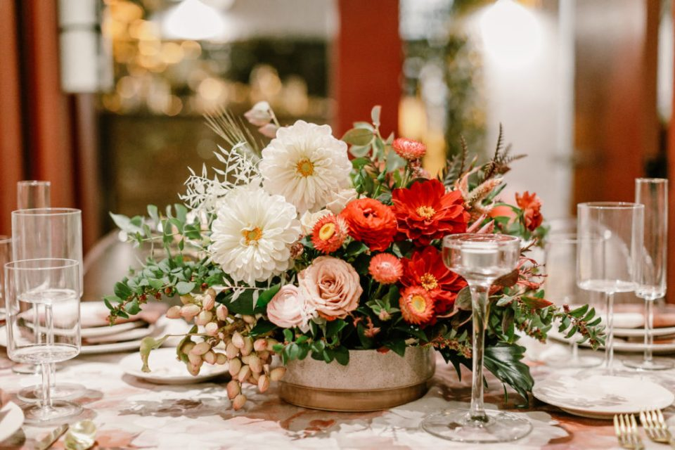 red, pink, white & green floral centerpiece by Winston and Main