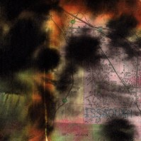 """ProtoNext #124 Acrylic and Map Ink on Paper, mounted on wood, 5""""x5"""""""
