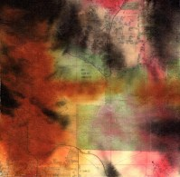 """ProtoNext #131 Acrylic and Map Ink on Paper, mounted on wood, 5""""x5"""""""