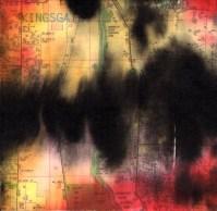 """ProtoNext #133 Acrylic and Map Ink on Paper, mounted on wood, 5""""x5"""""""