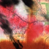 """ProtoNext #135 Acrylic and Map Ink on Paper, mounted on wood, 5""""x5"""""""