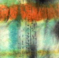 """**SOLD** ProtoNext #45 Acrylic and Sheet Music on Paper, mounted on wood, 5""""x5"""""""
